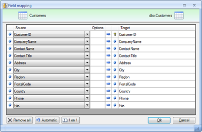 To alter the field mapping you can simply click on the field mapping link and redefine the automatic mapping. By default all fields are mapped that are named the same way.